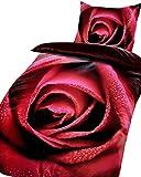 6 tlg. Bettwäsche 135x200 cm Microfaser Garnitur Set Premiumdruck Rot Rosen Romantik Spannbettlaken Deckenbezug Kissenbezug mit Reißverschluss