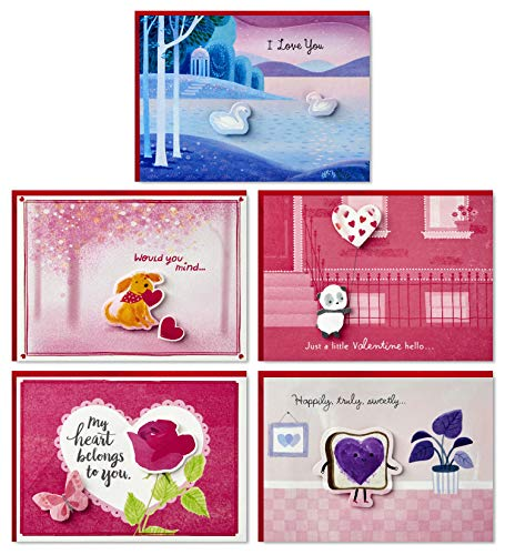 Hallmark Valentinstagskarten Sortiment 5 Cards and Envelopes, Paper Wonder