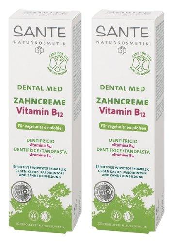 SANTE Dental Med Zahncreme Vitamin B12 mit Fluorid 2er-Pack (bio, vegan, Naturkosmetik)