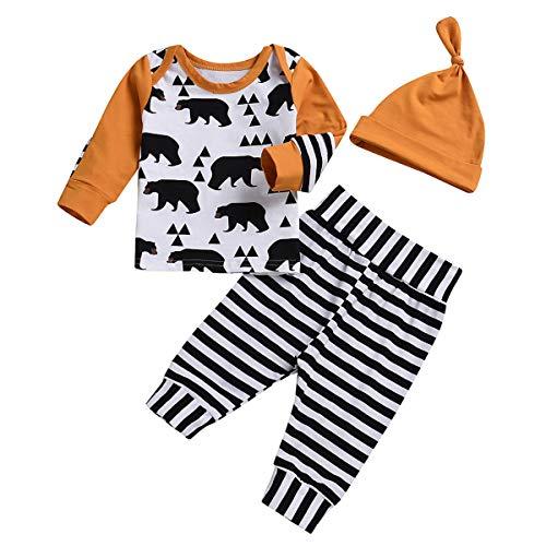 Chennie 3 Stücke Neugeborenen Herbst Pjs Outfit Bärendruck Top Streifen Legging Beanie Mütze Set 0-24m (Color : Orange, Size : 6-12M)
