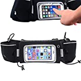 IDRATAZIONE cintura da corsa Pack touch screen marsupio Sweatproof auricolare con foro regolabile leggero della cerniera tasche con supporto per telefono per iPhone 6 7 Plus ciclismo uomo jogging maratona donna allenamento fitness, Touch Screen Hydration Belt