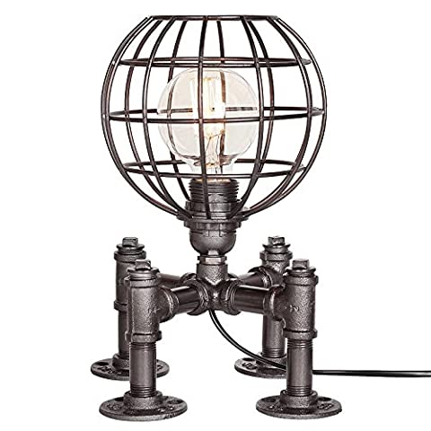 Vintage Industrial Table Lamp Steampunk Table Light Rustic Water Pipe Style Bedside Desk Lamp For Home Study Room Bedroom Library Hotel Desktop Lights Football Light Height 30cm ( Color : Silver black