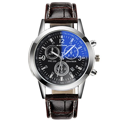 Reloj de cuero de imitación, Rawdah Luxury Fashion Mens Blue Ray Glass cuarzo fecha analógica relojes (B)