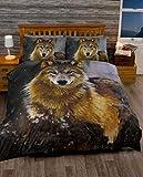 Dämmerung Wolf einzelner Bettbezug und Kopfkissenbezug Set
