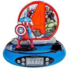 Idea Regalo - LEXIBOOK RP500AV - Radiosveglia proiettore The Avengers, Design Captain America, Luce Notturna Integrata, Proietta l'ora sul soffitto, Effetti sonori, a batterie, Blu