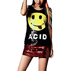 Camiseta Sin Mangas Mujer Verano Elegantes Casual Sparkle Lentejuelas Tank Top Emoticonos Joven Bastante Impresión Cuello Redondo Moda Hip Hop Street Style Chaleco Camisetas T Shirt Women