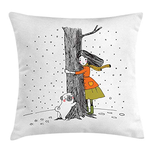 shion Cover, Young Girl and a Cute Little Pug Hugging a Tree Under Snowfall Sweet Winter Season, Decorative Square Accent Pillow Case,Multicolor Size:16X16 Inches/40X40cm ()