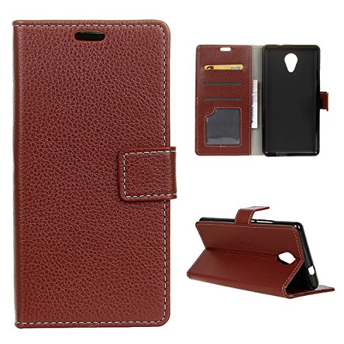 Wiko Robby / Wiko S-Kool Lederhülle, CaseFirst Prime Handyhülle Stoßfest Schutzhülle Brieftasche Hülle Magnet Cover Anti-kratzer PU Leather Wallet Case mit Karte Slots & Supporter (Braun)