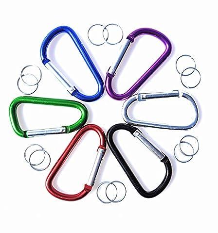 Mousqueton Set de crochets mousqueton avec 12Anneaux Porte-clés en 6couleurs différentes