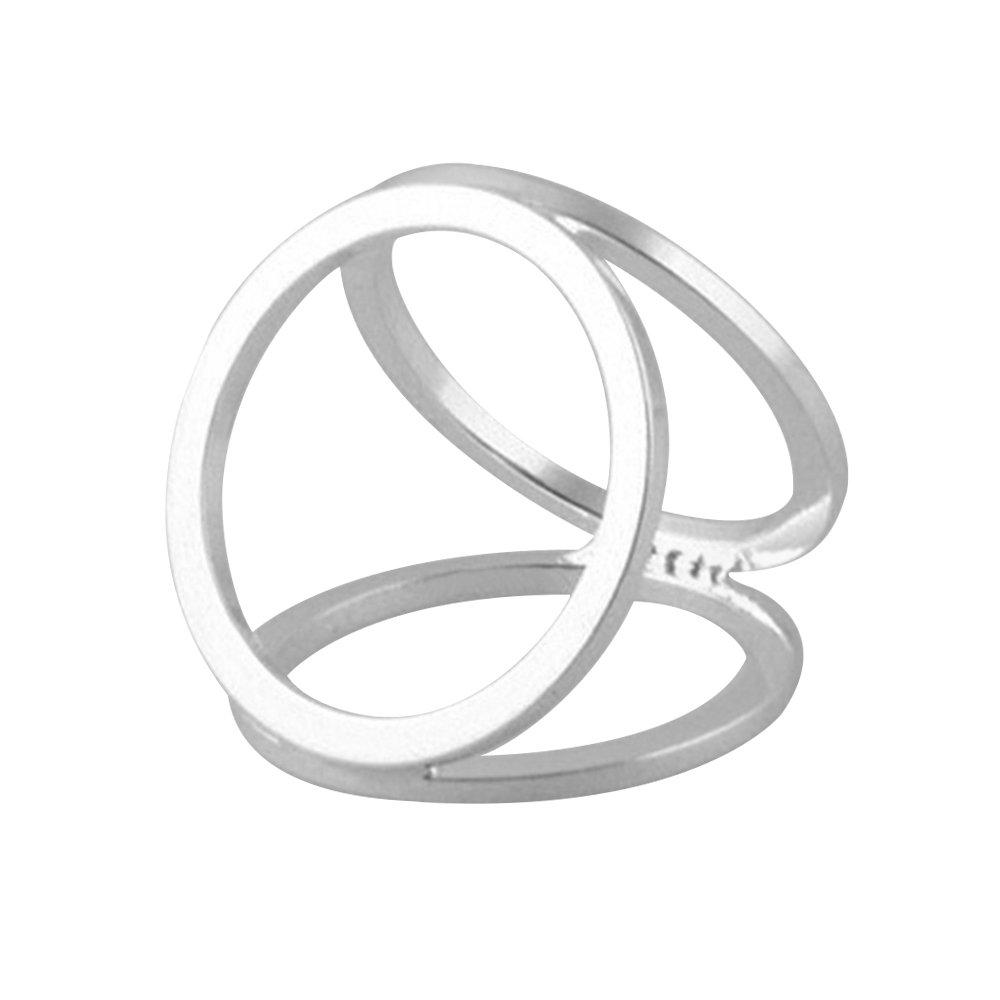 Gemini _ Mall semplice tono argento 3anelli stile seta sciarpa clip fibbia sciarpa ad anello argent