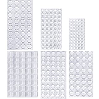 254 Pieces Clear Rubber Feet Bumper Pads Adhesive Transparent Buffer Pads Cabinet Door Bumpers Self Stick Noise Dampening Pads, 6 Sizes