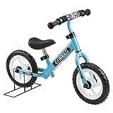 Enkeeo - 12' Bicicleta sin Pedales, Bicicleta Infantil de Equilibrio (Para 2~6 Años Niños, Marco de Acero Carbón, Manillar y Asiento Ajustables, Capacidad 50kg, Alta Resistencia) (Azul)