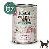 Wildes Land   Nassfutter für Hunde   BIO Rind   6 x 400 g   mit Kartoffeln   Getreidefrei & Hypoallergen   Extra hoher Fleischanteil von 60%   100% zertifizierte Bio-Zutaten   Beste Akzeptanz und Verträglichkeit