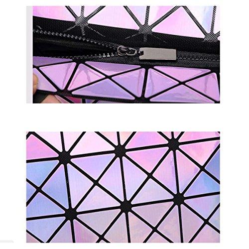 Donne 7 * 8 Tendenza Laser Borse Moda Piegatura Cubo Cucitura Pacchetto Geometrico Rombo Varietà Borsa Semplice Personalità Casuale DarkBlue