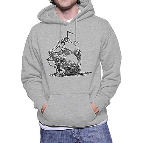 Hoodie da uomo con stile vintage con nave sailer stencil stampa.