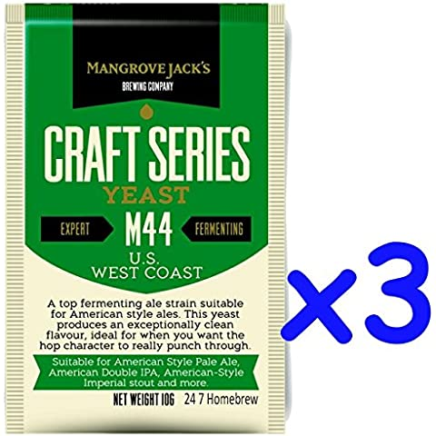 3x Mangrove Jack's Yeast M44 US West Coast Craft Series Yeast 10g treats 23L by Mangrove Jack
