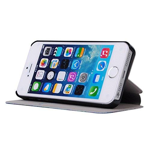MOONCASE Apple iPhone 5 Case Printing Series Coque en Cuir Portefeuille Housse de Protection Étui à rabat Case pour Apple iPhone 5 / 5S XA01 XA06 #1223