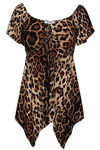 Meaneor Damen Oberteil, Low Cut V-Ausschnitt, asymmetrischer Schnitt, Plus Size Gr. S, Leopard - Plus Leopard