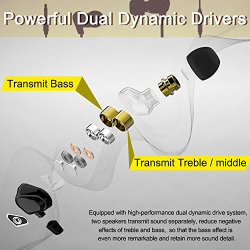 Beexcellent Cuffie Auricolari In-Ear, Dual Dynamic Driver Auricolare Gaming  con Microfono Isolamento del Rumore, alta Definizione, Bassi Potenti