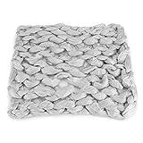 100% handgemachte gestrickte Decke Merinowolle dicke Linie werfen weichen Teppich Sofa Bett Lounge Decorator Home Decor(Hellgrau)