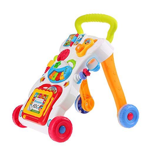 Festnight Multifuctional Kleinkind-Trolley Baby Lauflernwagen Sit-to-Stand ABS Musical Spielzeug Lerning Walker mit Einstellverschraubung