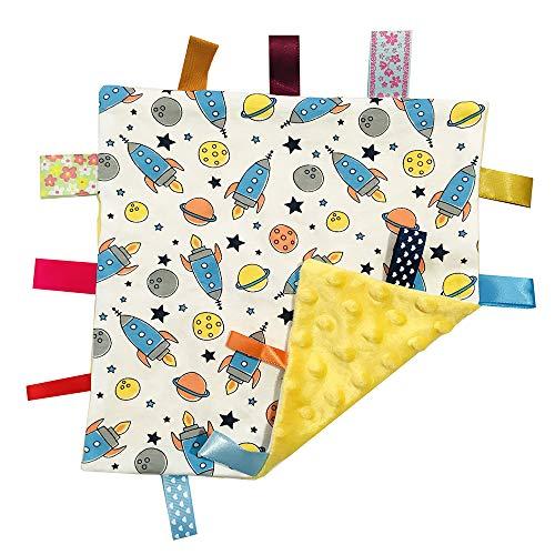 Douche cadeau bébé - Tag Consolateur Couvertures de sécurité avec des étiquettes colorées, les enfants enfants en bas âge doux en peluche Tag Couverture du nouveau-né cadeau bébé