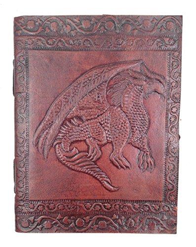 Chic & Zen–Cuaderno, bloc de notas, diario, libro, piel auténtica, Vintage, Dragon Medieval, 13cm * 17cm, papel Premium