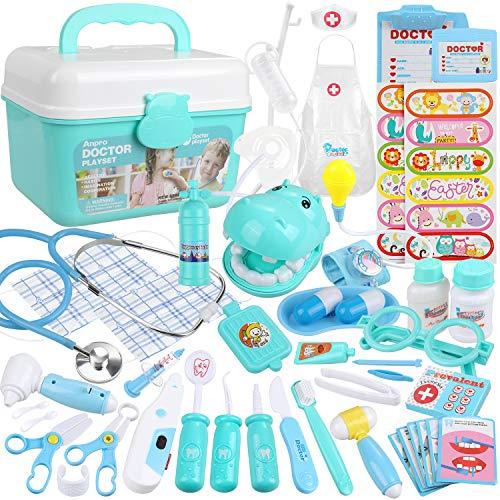 Anpro 46 pcs Kit de Médico y Enfermera,Juegos de Médicos para Niños,Kit de Dentista con Estetoscopio y Abrigo,Regalo para Niños en Fiestas,Cumpleaños,Navidad, Juego de Roles del Doctor
