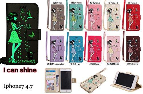 iPhone 7 Hülle Flip-Case Premium Kunstleder Tasche im Bookstyle Klapphülle mit Weiche Silikon Handyhalter Lederhülle für iPhone 7 (4,7 Zoll) Luminous Mädchen Katze case Hülle +Stöpsel Staubschutz (3) 6