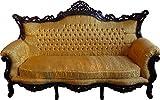 Casa Padrino Barock Wohnzimmer Set Master Gold Muster / Mahagoni Braun – 3er Sofa + 2er Sofa + 1 Sessel - 4