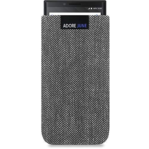 Adore June Business Tasche für BlackBerry Key2 / Key2 LE Handytasche aus charakteristischem Fischgrat Stoff - Grau/Schwarz | Schutztasche Zubehör mit Display Reinigungs-Effekt | Made in Europe