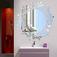 Dragon868 Removable 3D Mirror Flower Art Wall Sticker Acrylic Decal Home Room Decor (silver)