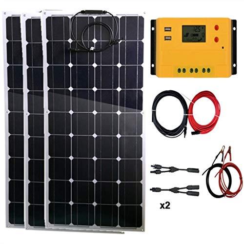 Contenido del paquete: * Panel solar flexible de 3 x 100 W. * 1 controlador solar de 30 A 12 V/24 V (color amarillo). * 1 x cable solar de 5 m rojo y negro con conectores MC4 (rojo alrededor de 2,5 m, negro alrededor de 2,5 m). * 2 x Par de adaptador...