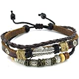 Konov Jewellery Mens Womens Leather Bracelet, Feather Charm 7-9 inch Adjustable Wrap Bangle, Brown Silver (with Gift Bag)