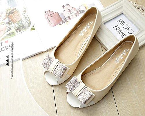 &qq Chaussures de bouche de poisson femme, sandales à talons plats ouverts, chaussures simples avec chaussures plates, de grande taille 42