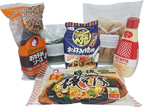 Hiroshima Okonomiyaki Zutaten im Set: Okonomiyaki Mehl (Ko), Okonomi Sauce, japanische Mayonnaise, Yakisoba Nudeln, Katsuobushi, Aonori Grundzutaten Rezept, Rezeptvorschlag, Hiroshimayaki