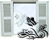 Fenstertattoo selbstklebend ~ Blumenranke Schmetterling - Blumen - Schnörkel ~ glas022-57x43 cm 600084 Aufkleber für Fenster, Glastür und Duschtür, Glasdekor Fensterbild, wasserfeste Glasdekorfolie in Sandstrahl - Milchglas Optik