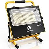 Led Akku Strahler Lampe 100W Baustrahler 200 LEDs 100% helligkeit Garantie, IP65 Wasserdicht von Roilois GmbH mit MWSt (100W kaltweiß)