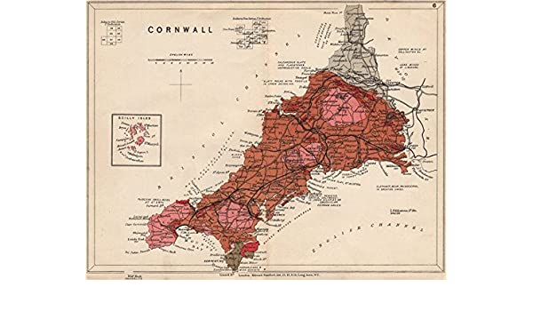 CORNWALL Geological map. STANFORD - 1913 - old antique vintage map on