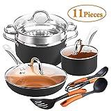 SHINEURI Copper Pots & Pans Set 11 PCS Cookware Set, 9.5 inch Fry
