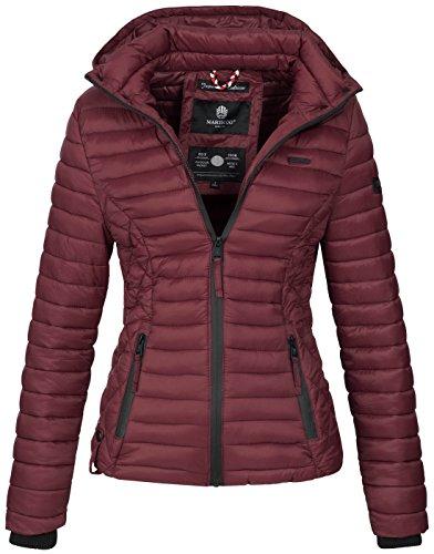 Marikoo Damen Jacke Steppjacke Übergangsjacke mit Kapuze gesteppt B600 [B600-Samt-Bordeaux-Gr.M]
