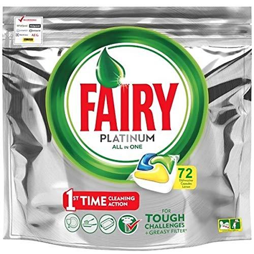 Fairy Platinum - Spülmaschinentabs All-In-One 72 Kapseln Zitrone Lemon Geschirrspültabs, Geschirrspülmittel Tabs in Sparpack