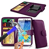 N4U Online® Purple Clip On PU Leather Wallet Case Cover &
