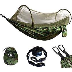 NATUREFUN Hamac de Voyage Ultra-léger Camping avec moustiquaire| 300 kg de capacité de Charge, Respirant, séchage Rapide en Nylon pour Parachute | 2 mousquetons Haut de Gamme, 2 x élingues en Nylon