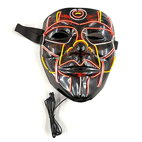 Leuchtende Maske LED-Maske Halloween Ghost Dance mit Flash Blood Horror Thriller Party Tile Mask,Red-Ordinary (Dance Flash Halloween)