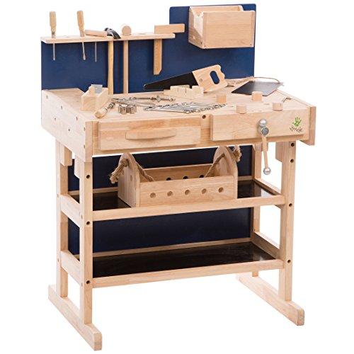 Ultrakidz 331900000013 Kinder-Werkbank aus Massivholz mit Werkzeug-Set und Werkzeugkiste, Braun/Blau