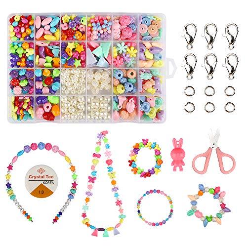 Perlen zum Auffädeln Kinder Schmucksets, 500 Stück Bunte Perlen mit 10m Elastisch Schnur, DIY Armbänder Halsketten Perlenschmuck Schmuckbasteln für Kinder