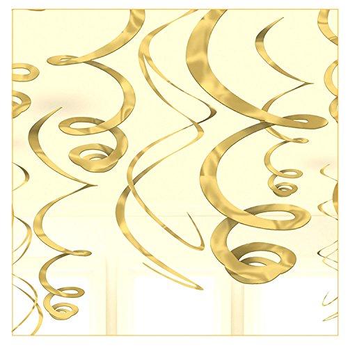 Libetui 12 goldene Folienwirbel Deko Gold Spiralen Partydeko tolle originelle Dekoration Ideen für Geburtstag Party Farbe Gold (Deko-ideen Für Geburtstags-party)