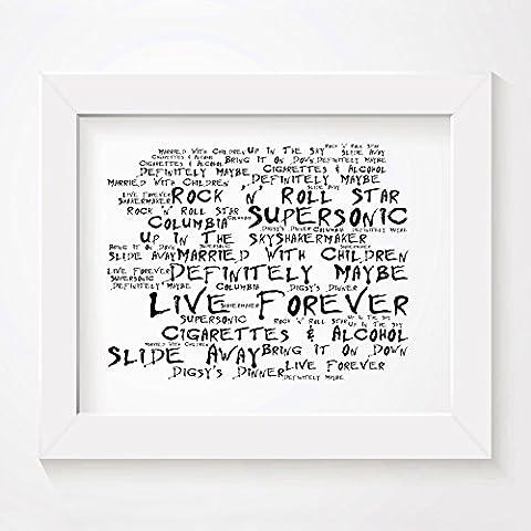 `Noir Paranoiac` Kunstdruck - OASIS - Definitely Maybe - Unterzeichnet und Nummerierten Limitierte Auflage Typografie Ungerahmt 25 x 20 cm Wand Kunst Druck Text Lyrisch Plakat - Song Lyrics Art Print