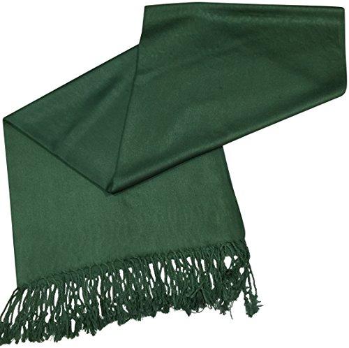 Dunkelgrün Einfarbiges Design Stola Schal Umschlagtuch Schultertuch Tuch CJ Apparel